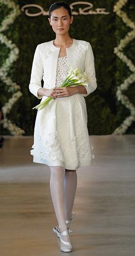 And Round Necked Lique Suit Design By Oscar De La A Are Also Source Of Inspiration For Brides Looking Clic Style Short Wedding Dress